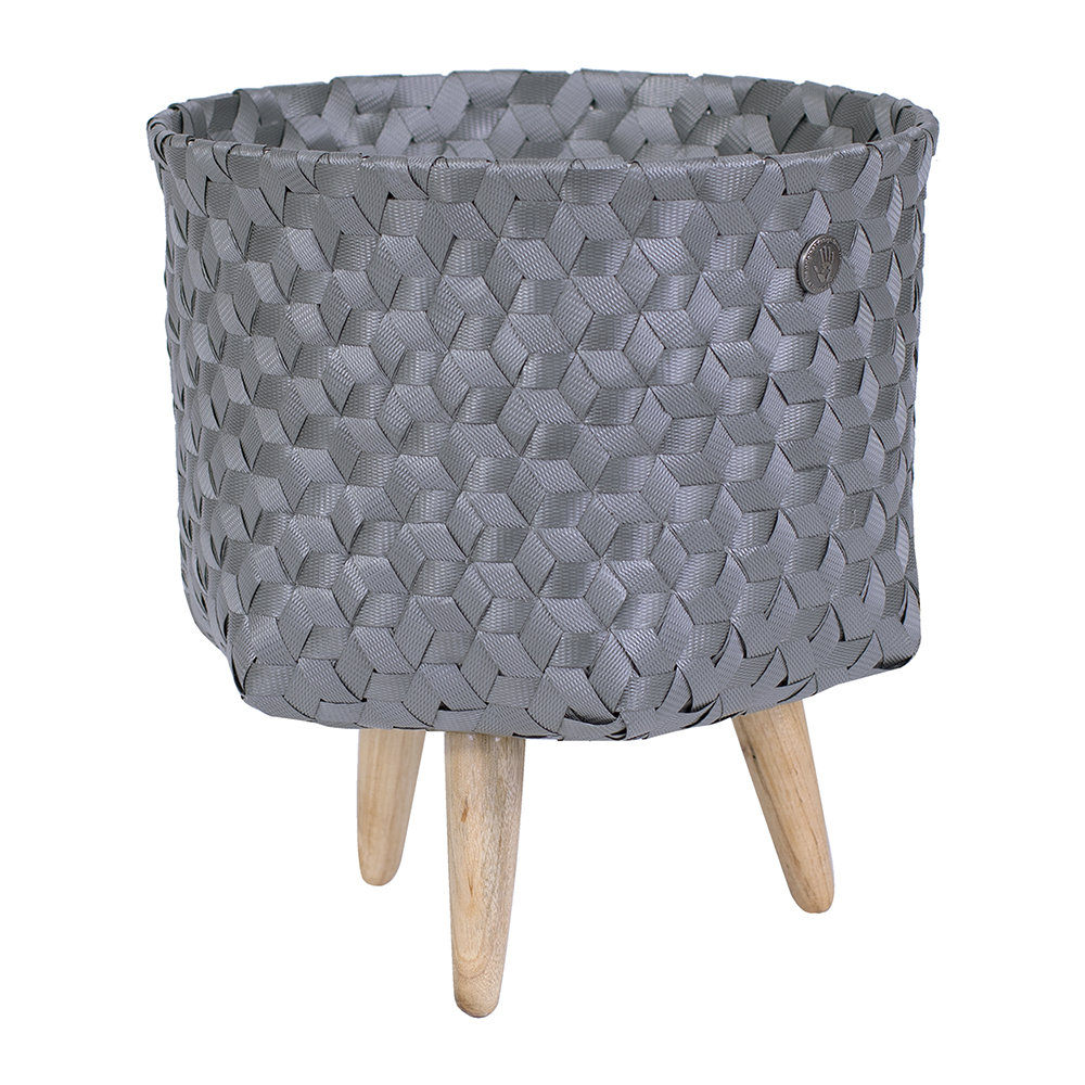Handed By - Dimensional Open Round Basket with Wooden Feet - Dark Grey