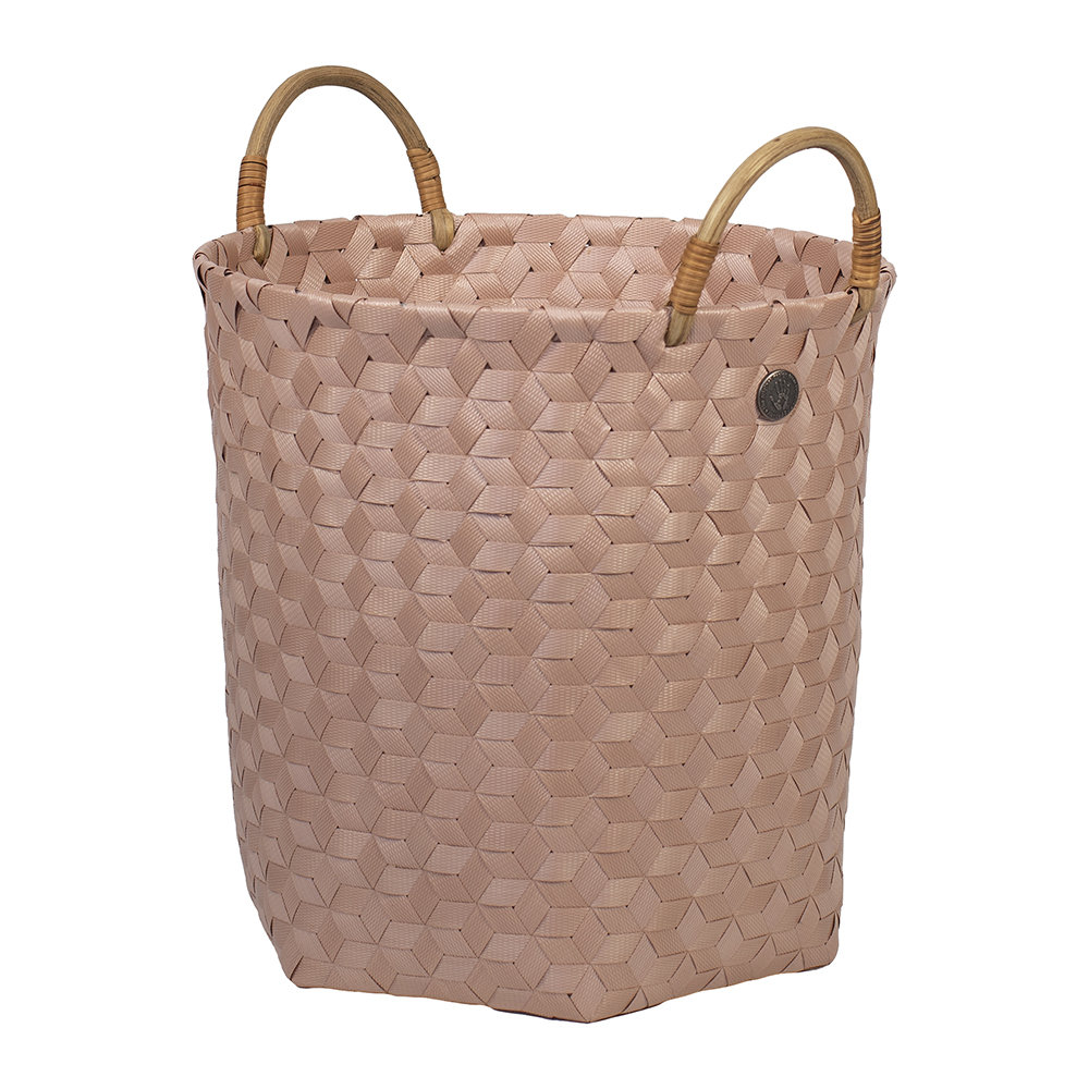 Handed By - Dimensional Round Basket with Rattan Handles - Copper Blush - Medium