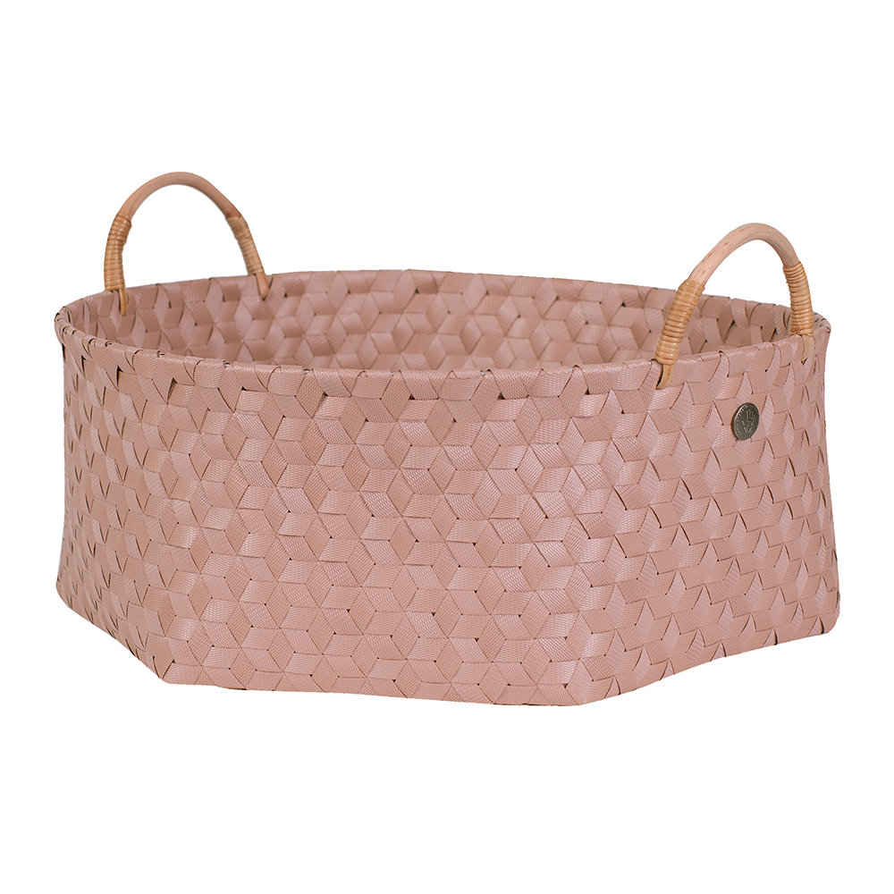 Handed By - Dimensional Round Basket with Rattan Handles - Copper Blush - Extra Large