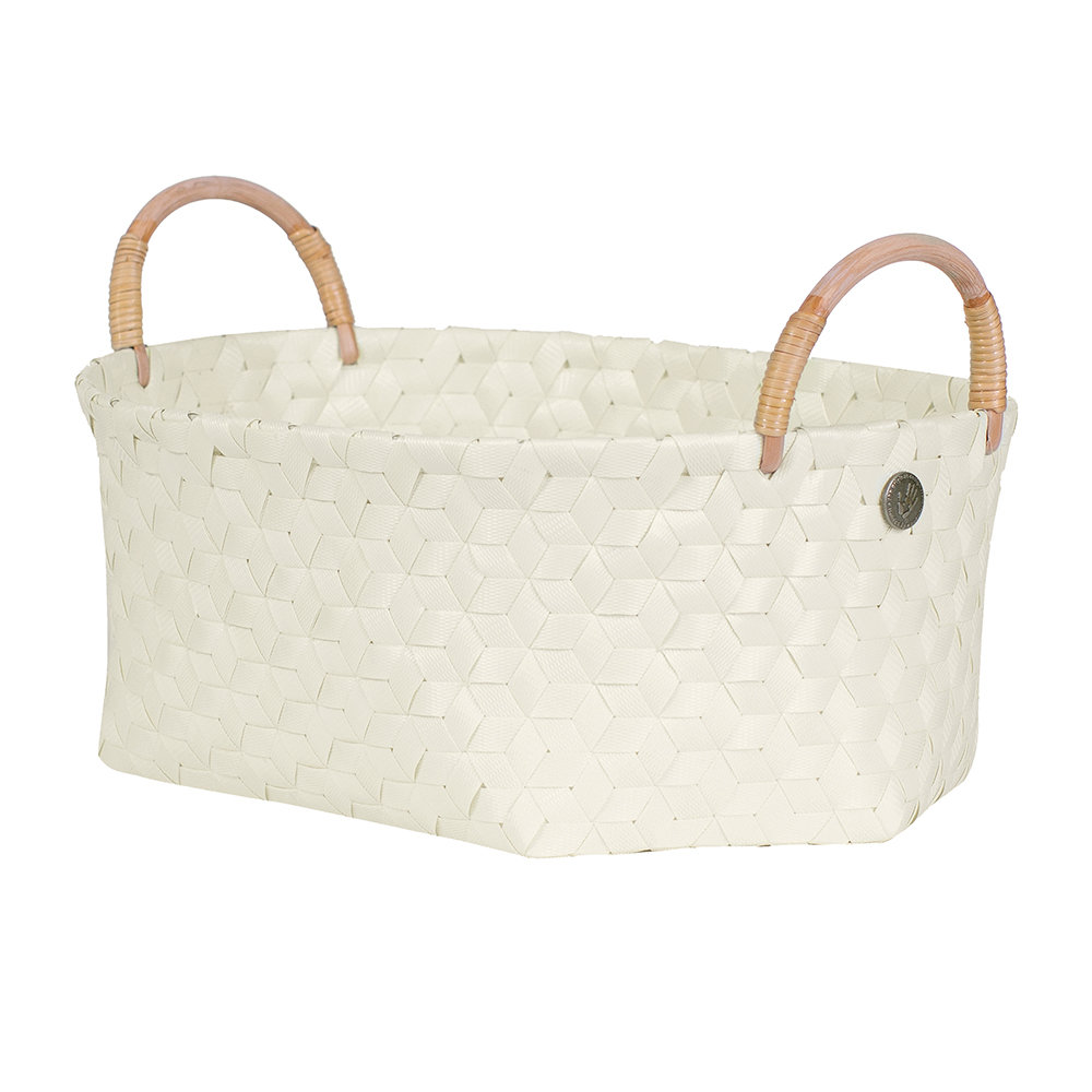 Handed By - Dimensional Open Oval Basket with Rattan Handles - Ecru White