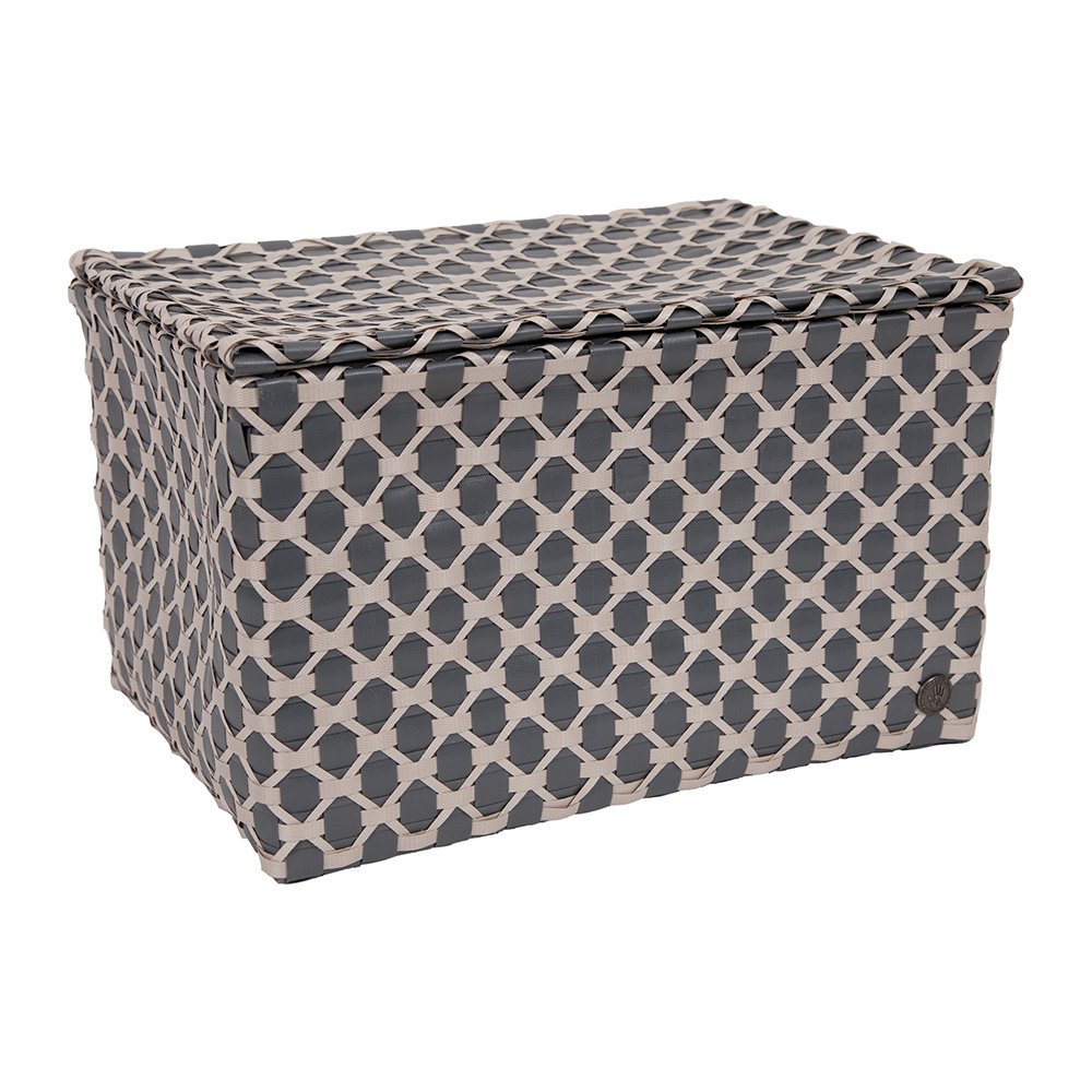 Handed By - Toulon Rectangular Basket with Flaptop - Dark Grey/Pale Grey