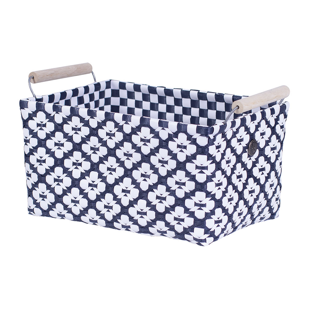 Handed By - Motif Square basket with Handles - Navy/White - Medium