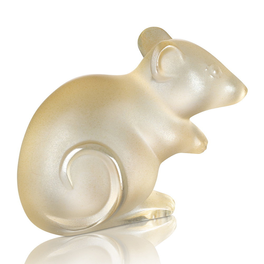 Lalique - Mouse Figure - Gold Luster - Gold Luster