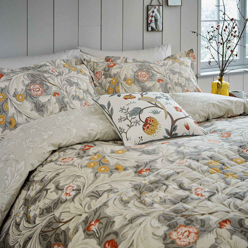 Morris  Co - Leicester Bed Set - Grey - Double