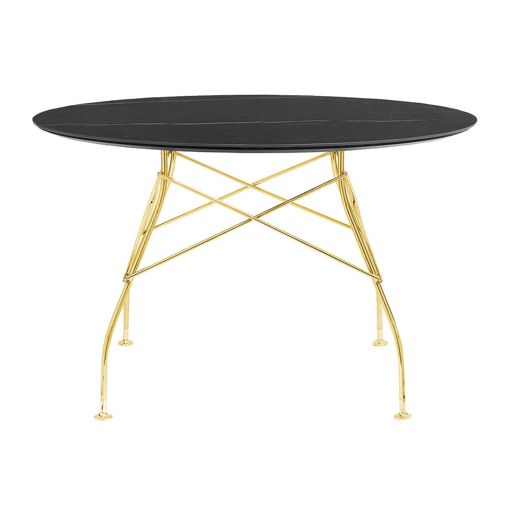 Kartell - Glossy Gold Round Table - Black Marble