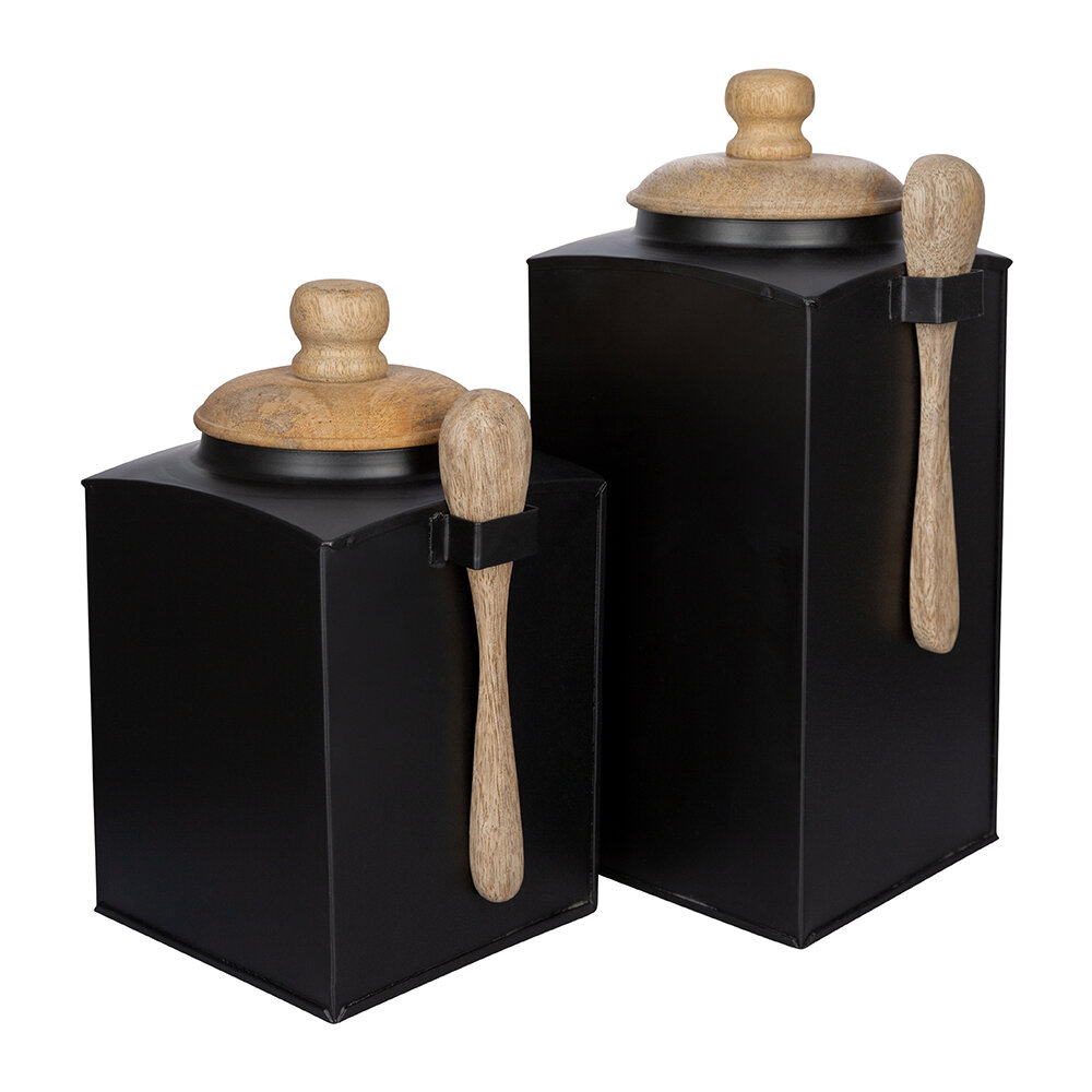 Image of A by AMARA - Black Storage Pot With Spoonet of 2