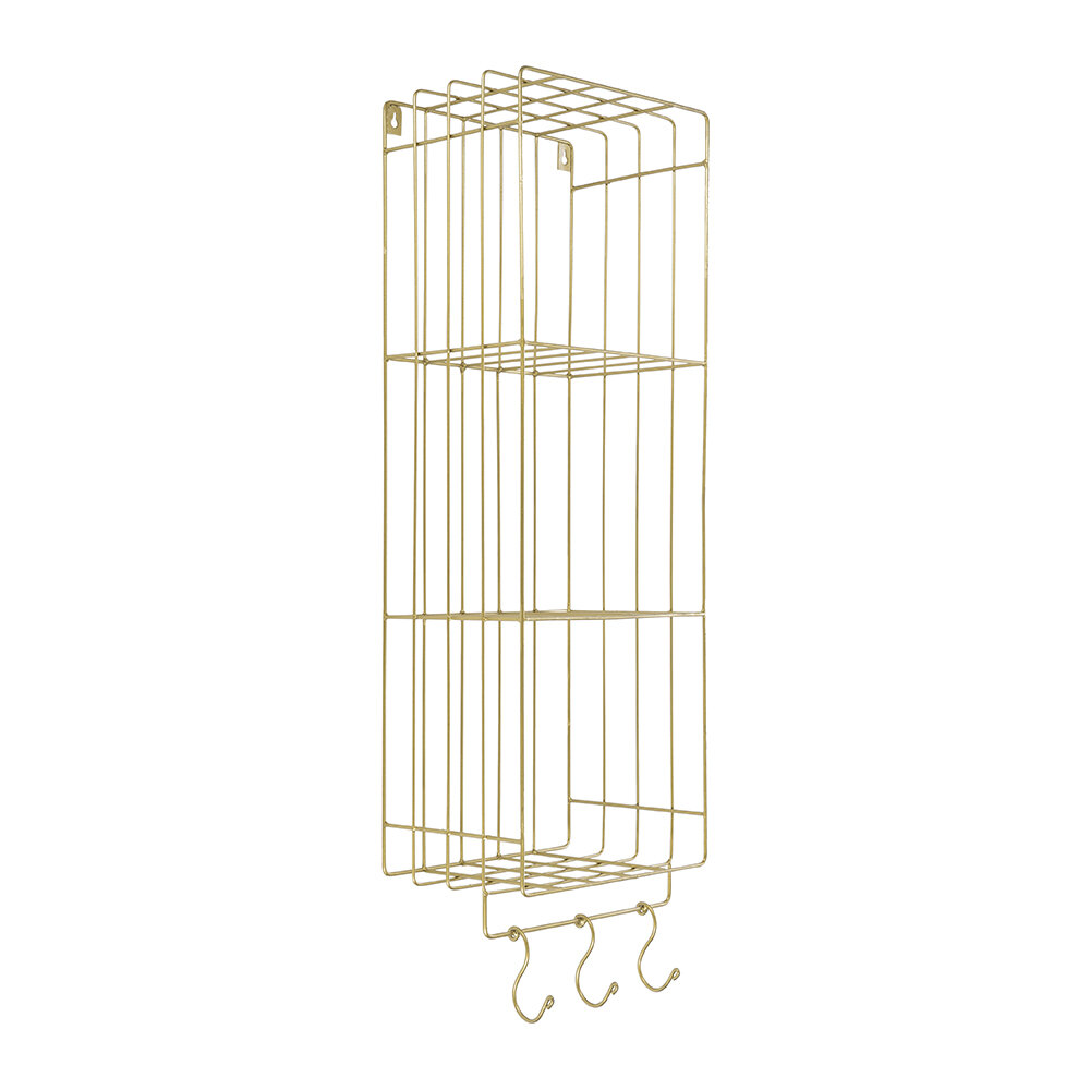 Retreat - Wall Shelves With Hooks - 3 Tier