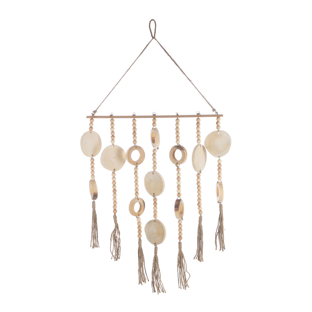 Image of A by AMARA - Wooden Bead and Tassel Wall Hanging