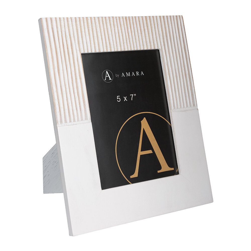 Image of A by AMARA - Carved Stripe Wooden Photo Frame - 5x7""