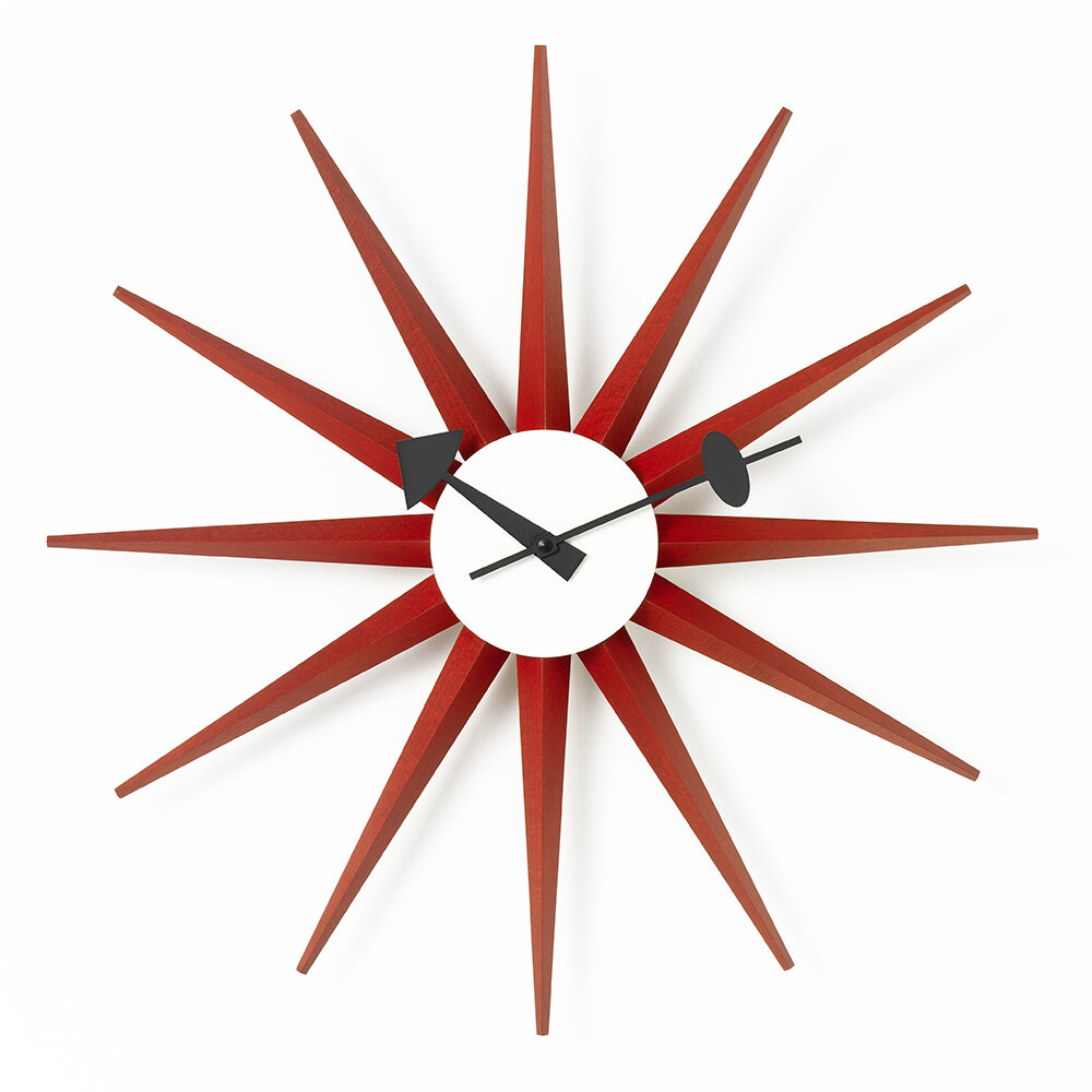 Vitra - Large Sunburst Clock - Red