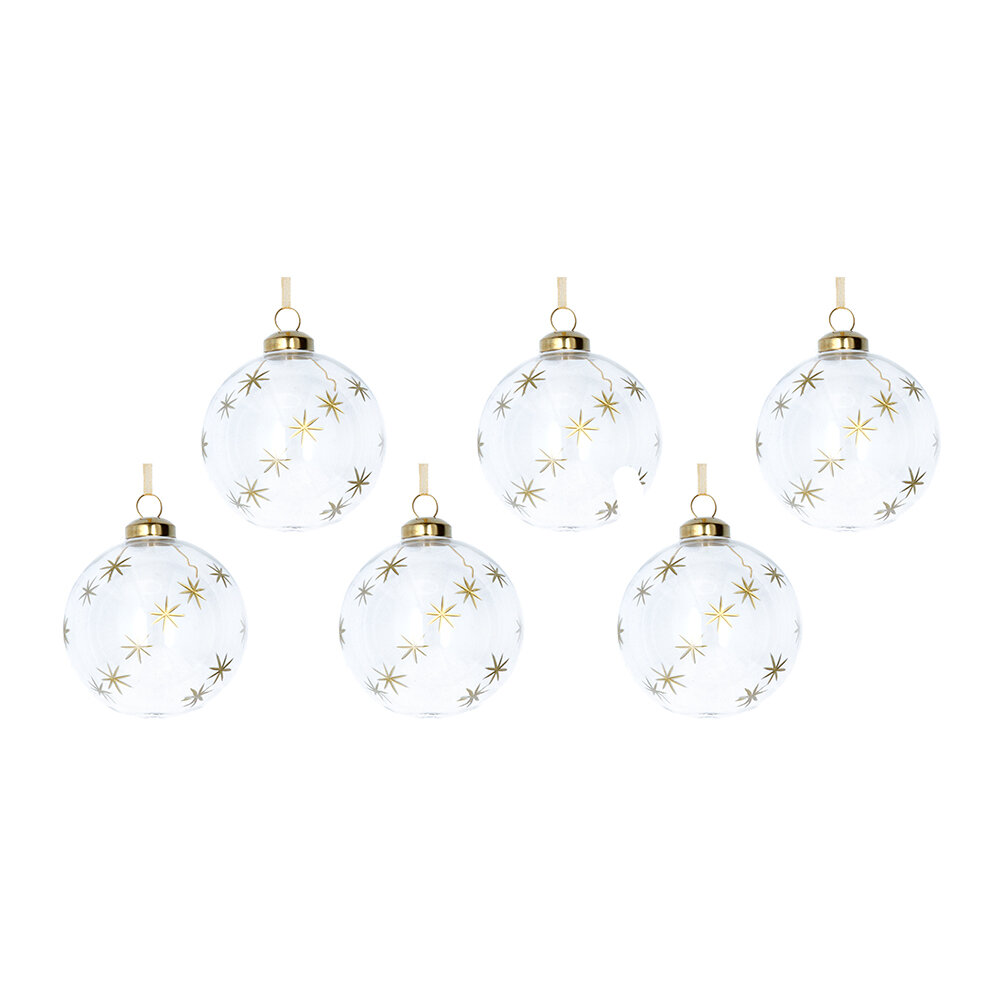 Gisela Graham - Etched Star Glass Bauble - Set of 6 - Clear/Gold