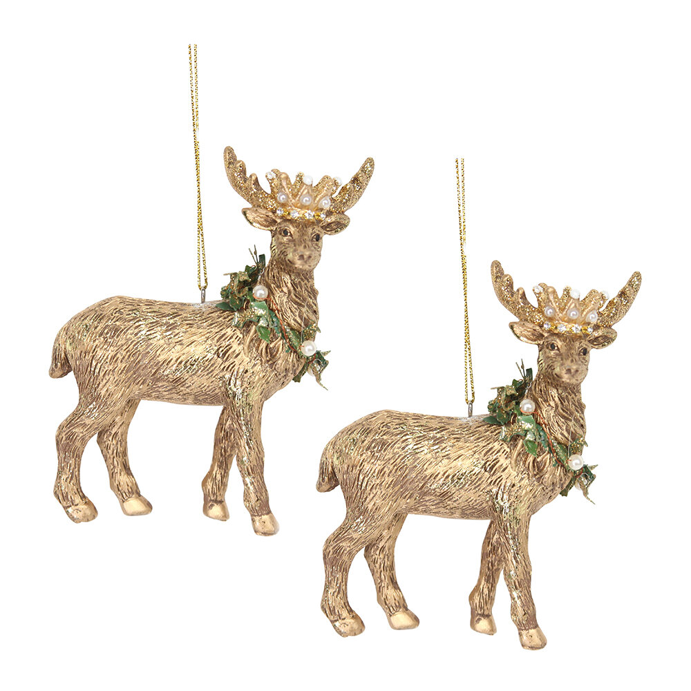 Gisela Graham - Stag with Crown Tree Decoration - Set of 2 - Gold
