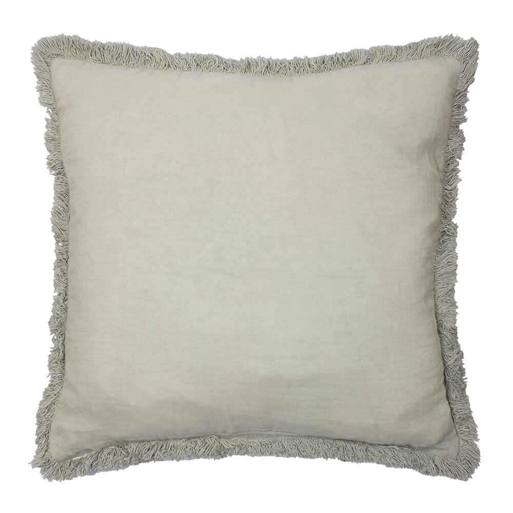 À la - Cushion Cover with Fringing - Light Green