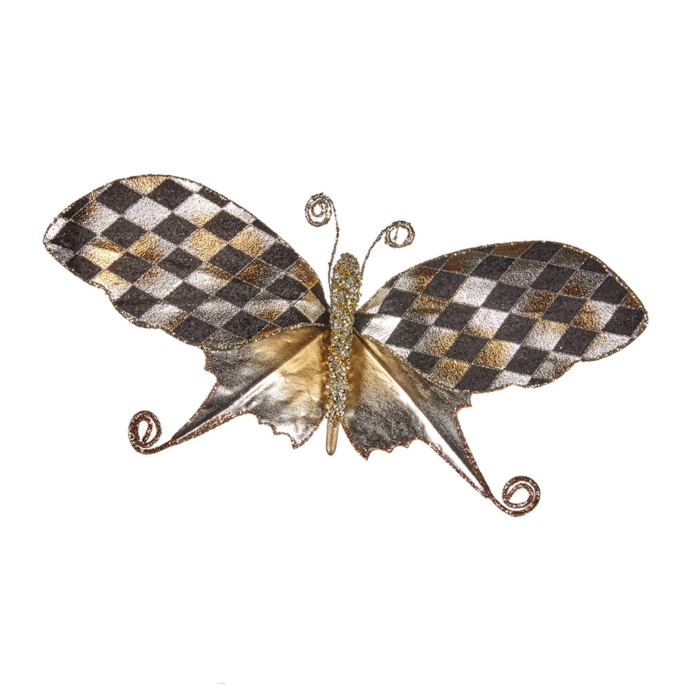 A by AMARA Christmas - Diamond Check Butterfly Clip Tree Decoration - Black/Champagne