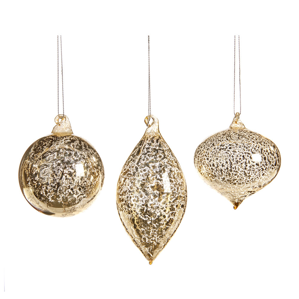 A by AMARA - Antique Effect Glass Tree Decorations - Set of 3 - Champagne