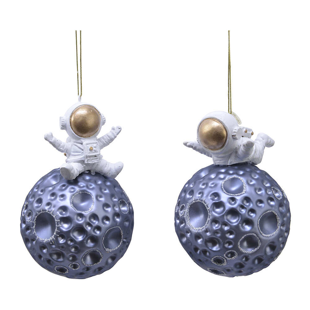 A by AMARA - Astronaut on the Moon Tree Decorations - Set of 2