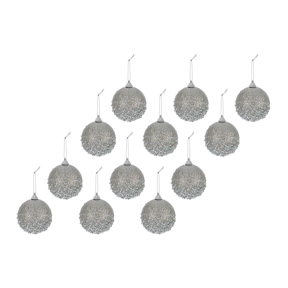 A by AMARA - Bead Encrusted Bauble - Set of 12 - Misty Grey