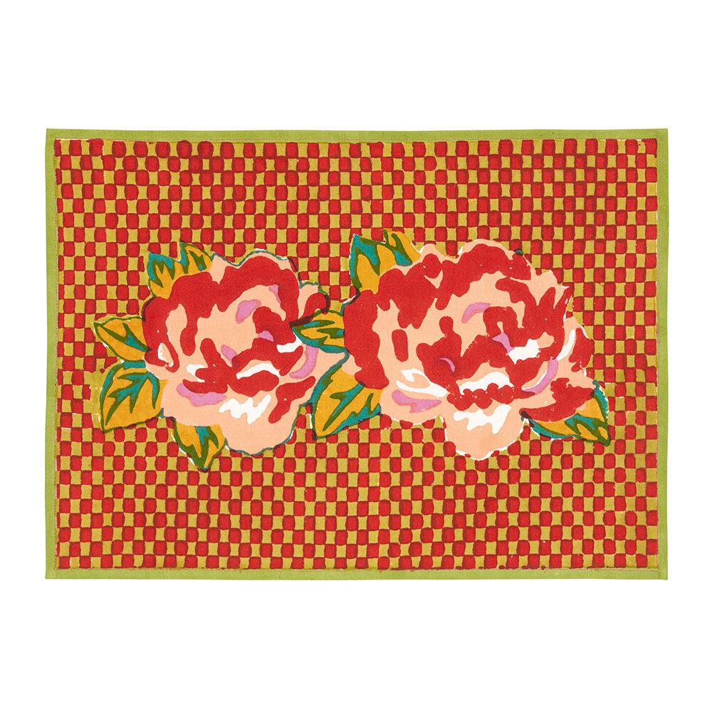 Lisa Corti - Double Peonia Placemat - Acid Green - 35x48cm