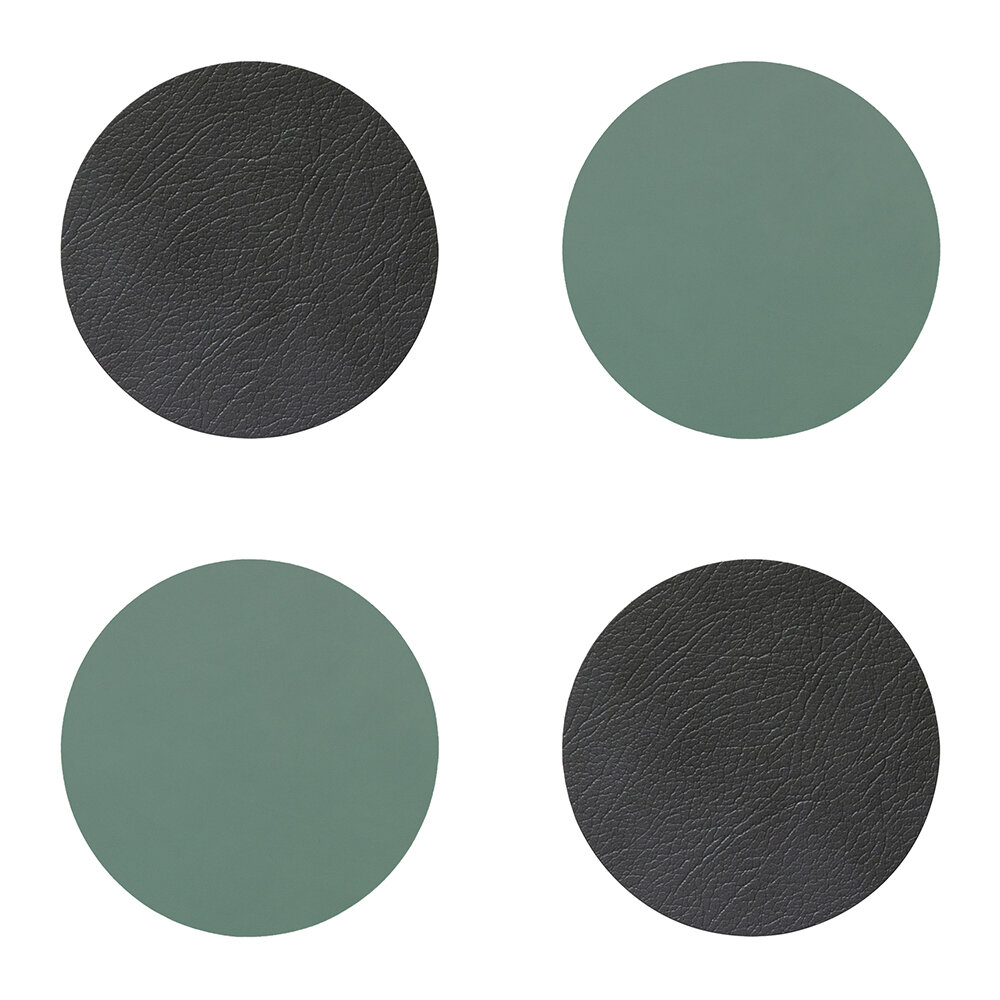 LIND DNA - Double Circle Drinks Coaster - Set of 4 - Anthracite / Pastel Green