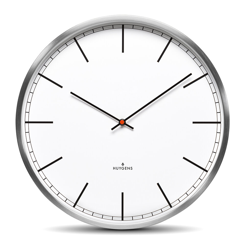 Huygens - One Silent Wall Clock - White Index - 45cm