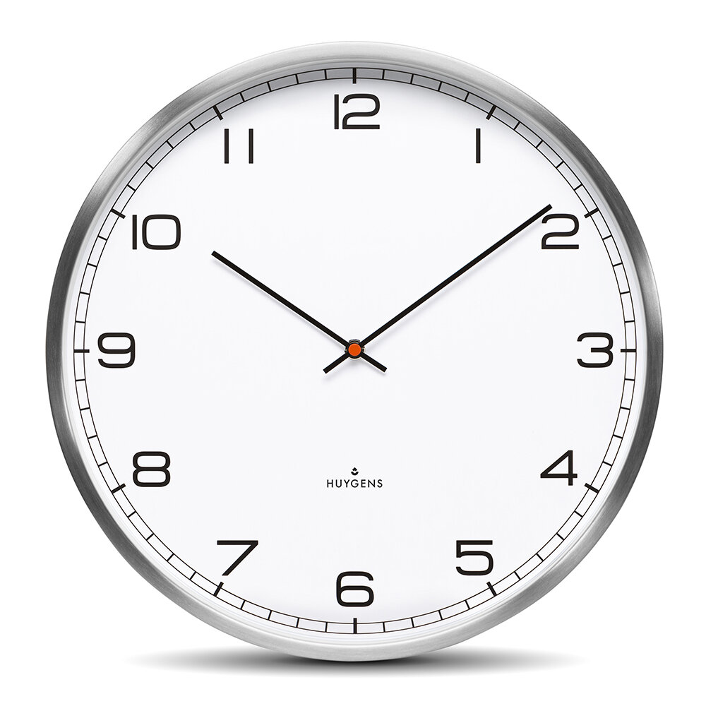 Huygens - One Silent Wall Clock - White Arabic - 45cm
