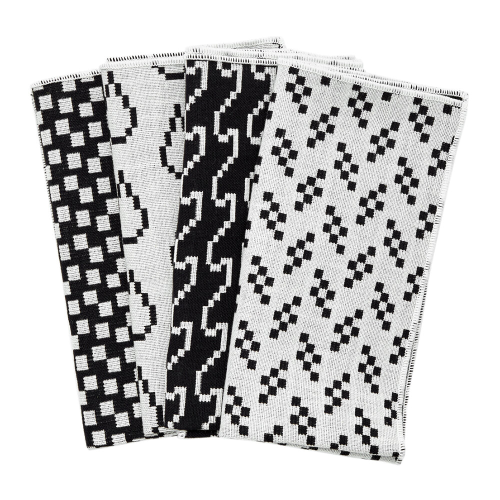 Areaware - Assorted Printed Napkins - Set of 4 - Black & White