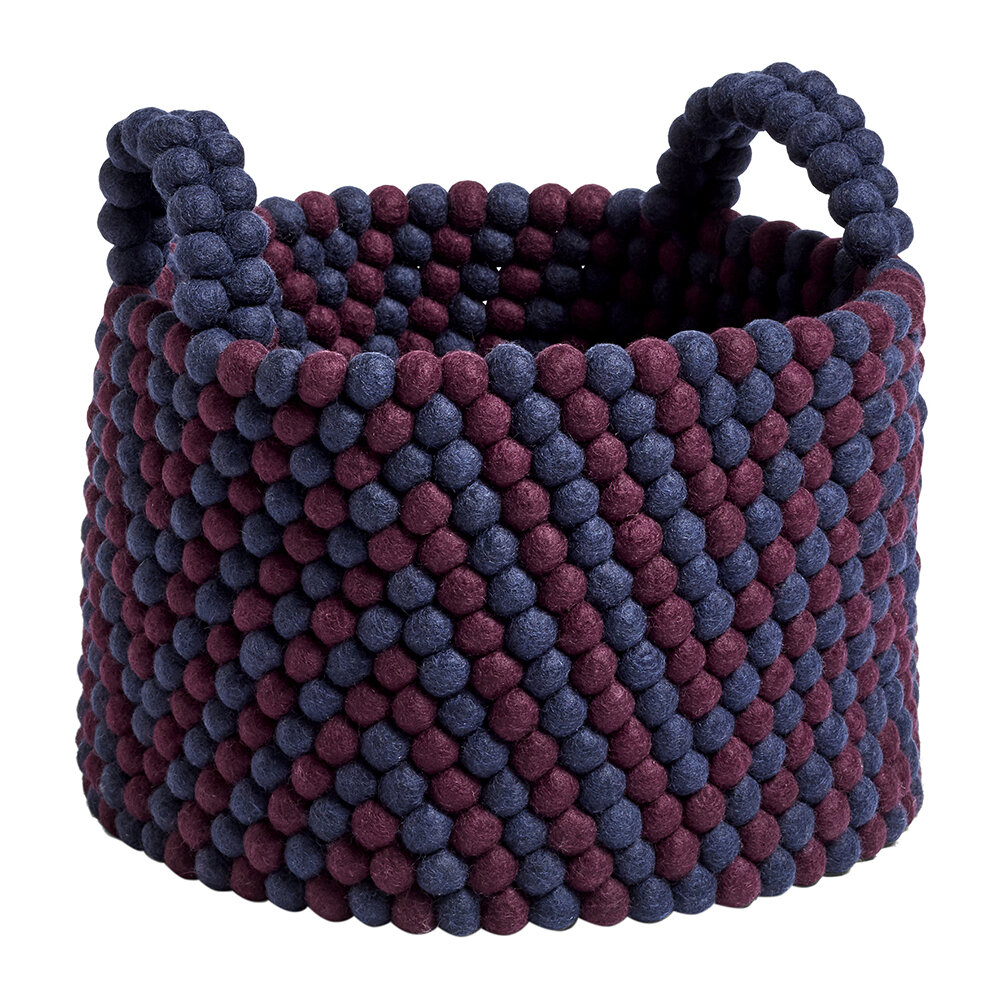 HAY - Bead Basket with Handles - Burgundy Chevron