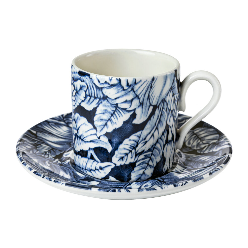 Burleigh - Ink Blue Hibiscus Coffee Cup & Saucer