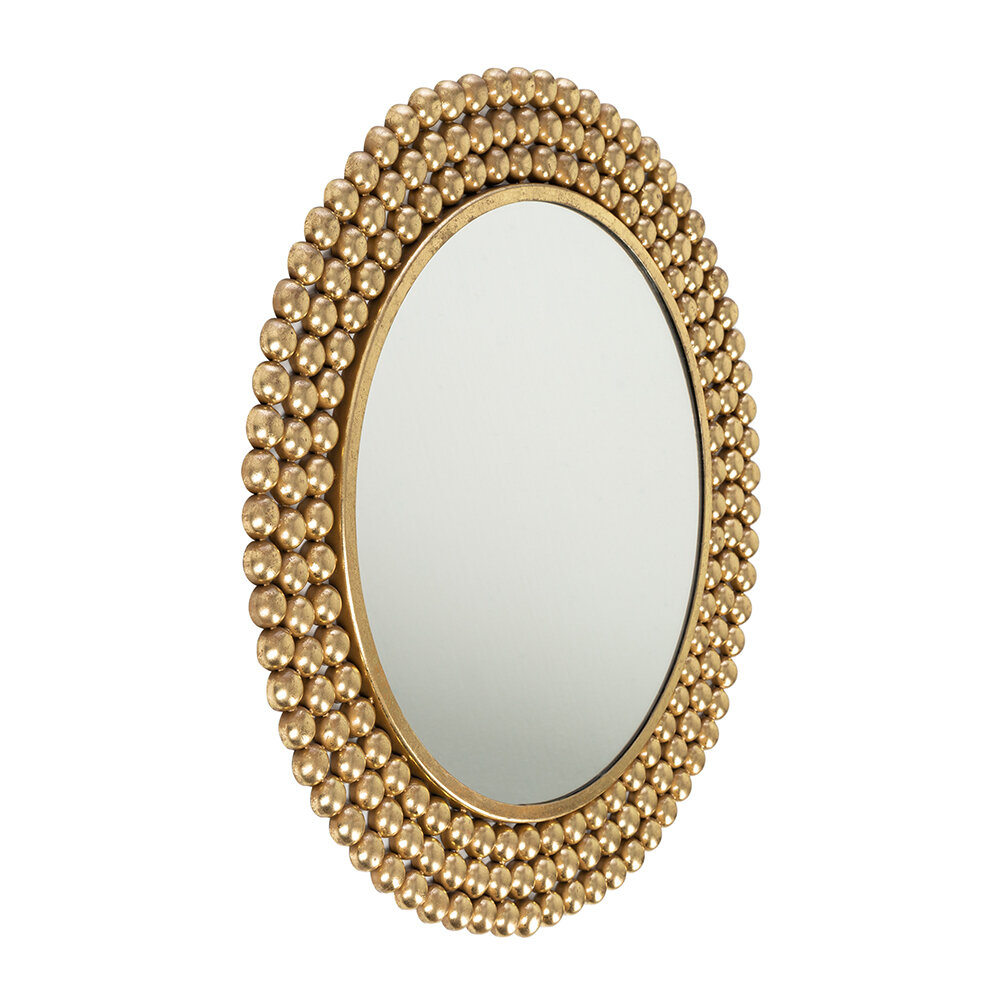 Global Explorer - Dotted Frame Round Mirror - Gold