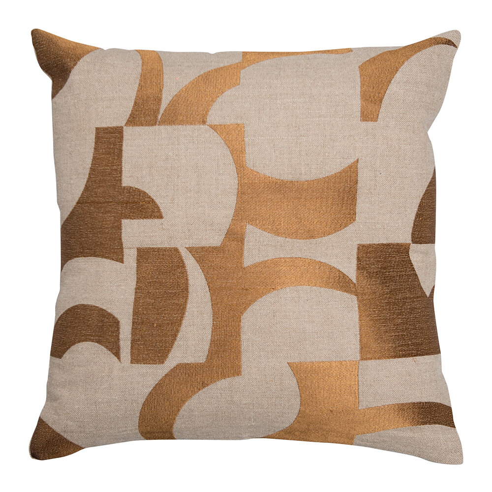 Niki Jones - Coussin Abstrait - Ocre & Naturel