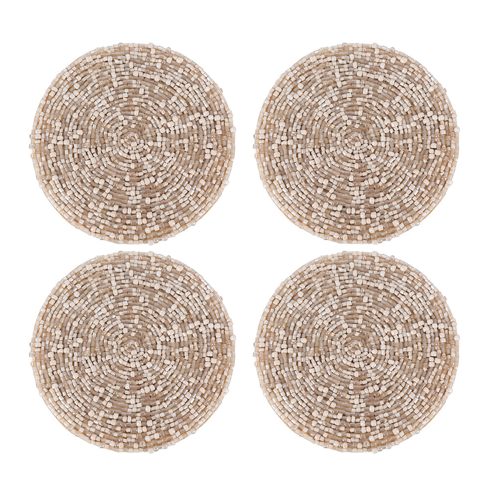 Luxe - Beaded Coaster - Set of 4 - Taupe