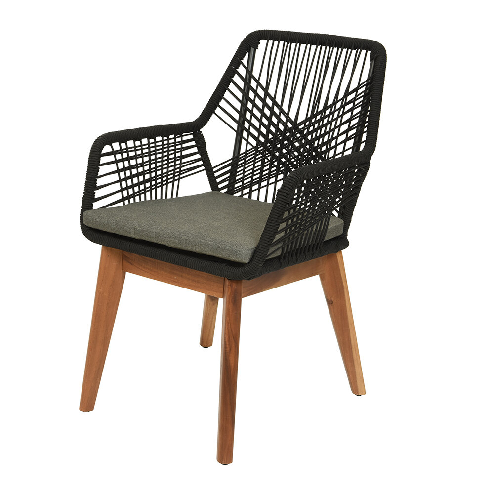 AMARA Outdoors - Outdoor Rope Weave Dining Chair - Set of 2 - Black/Wooden