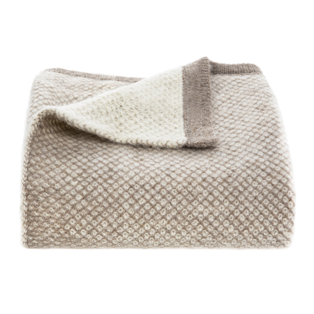 TUWI - Inti Knitted Baby Blanket - Taupe/Cream