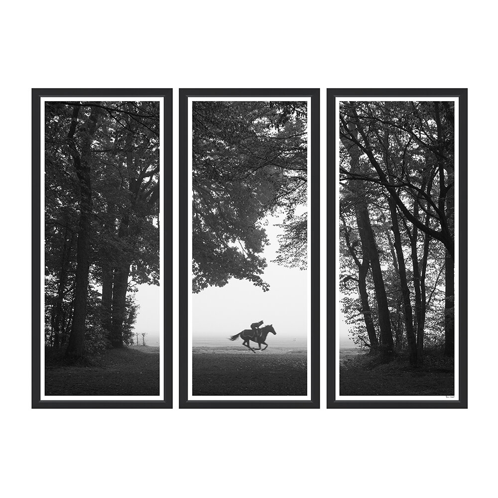 Trowbridge Gallery - Riding Out in Chantilly Triptych Framed Print - 170x124cm