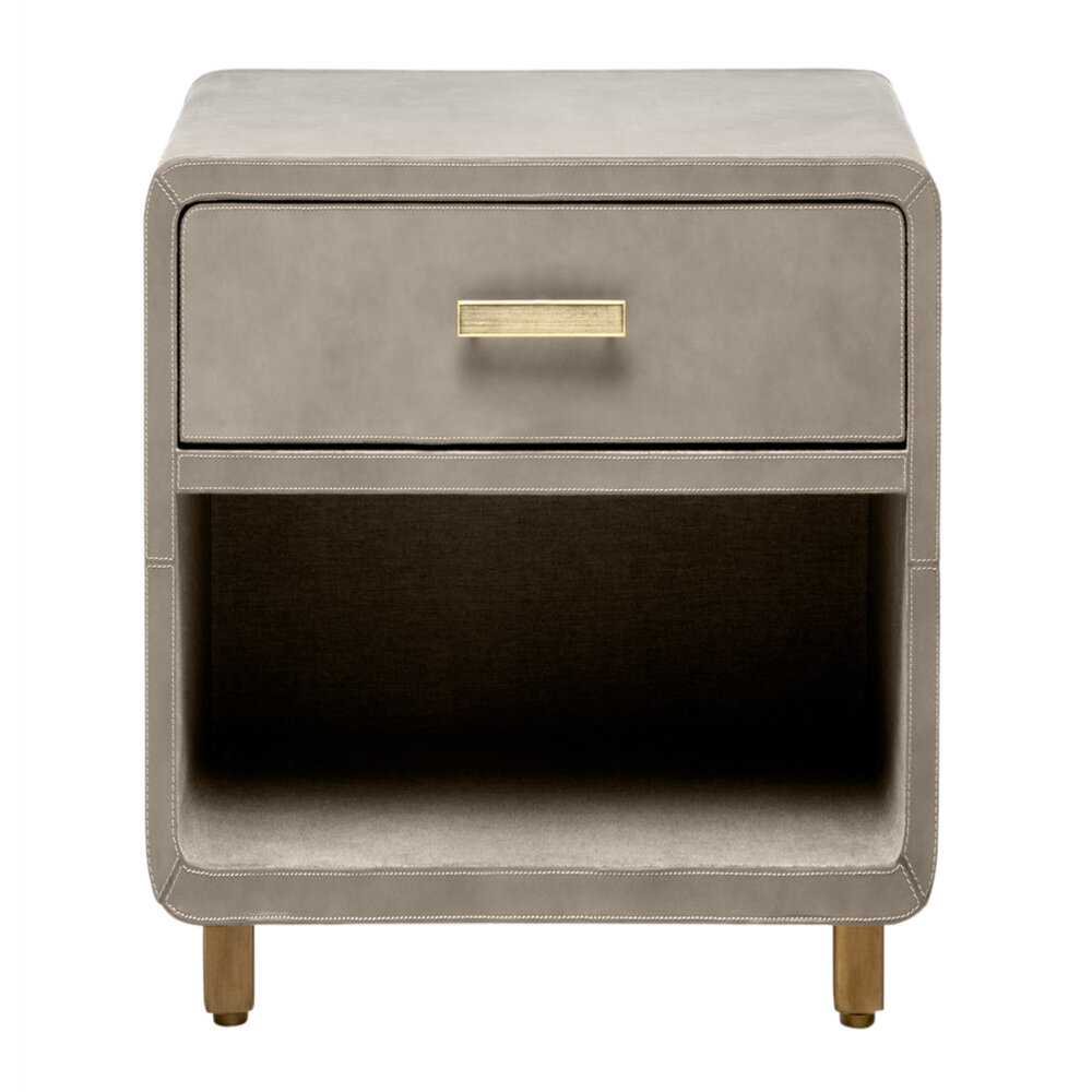 Made Goods - Dante Nightstand - Storm Leather