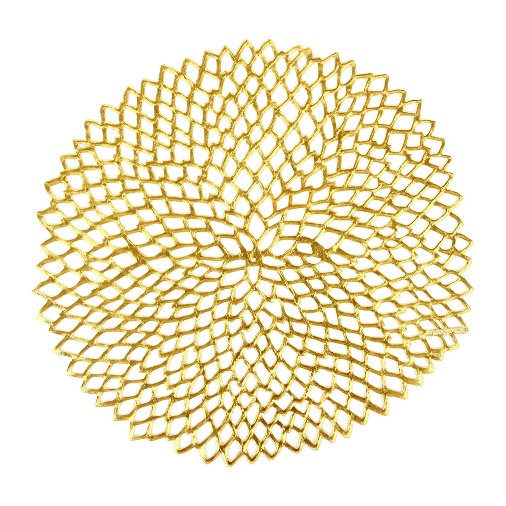 Chilewich - Pressed Vinyl Dahlia Round Placemat - Gold