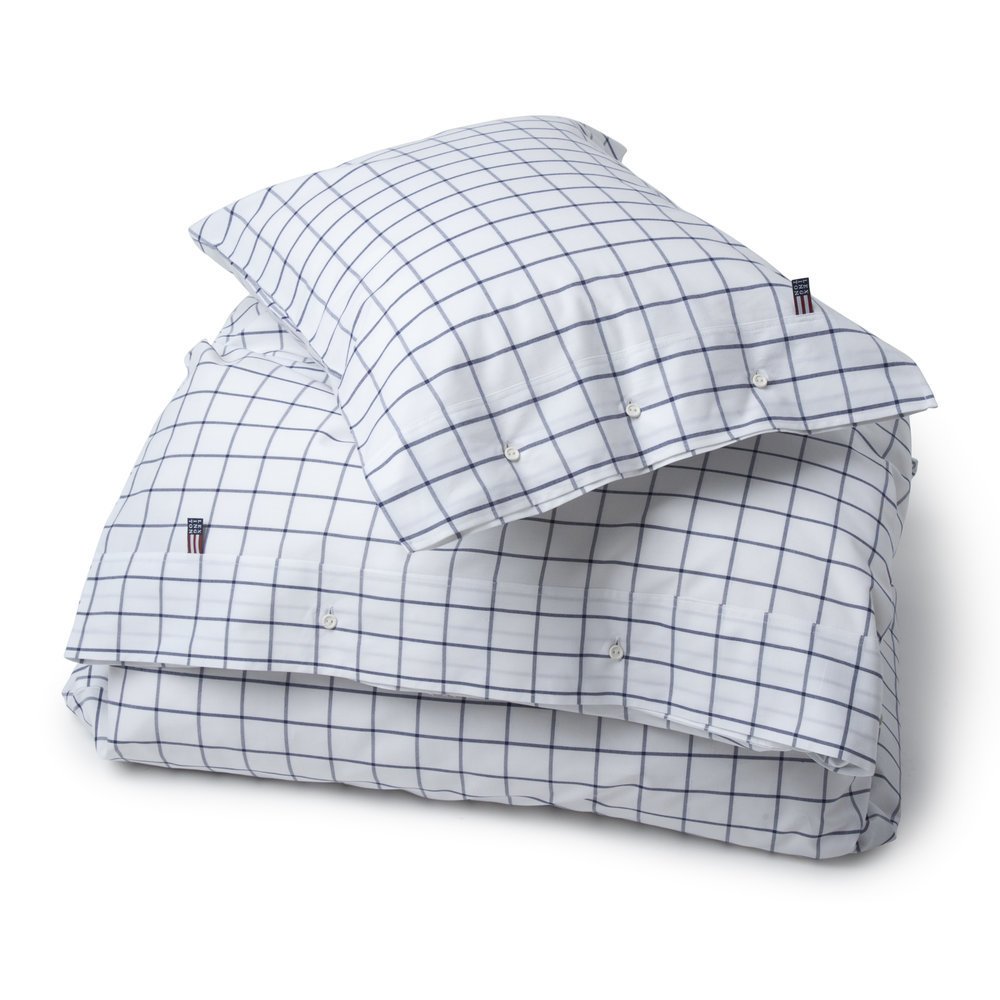 Lexington - Icons American Country Pinpoint Check Duvet Cover - Navy - King