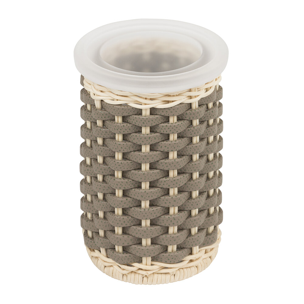 Pigment France - Calais Rattan & Leather Toothbrush Holder - Mud