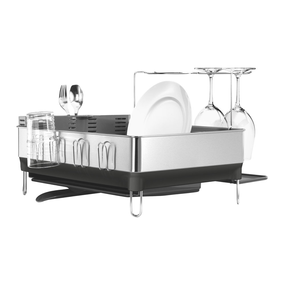 simplehuman - Brushed Steel  Grey Dish Rack/Wine Glass Holder