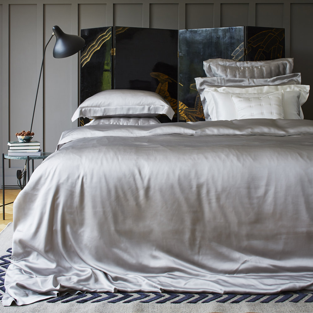 Gingerlily  Silk Duvet Cover  Silver Grey  King (UK size)