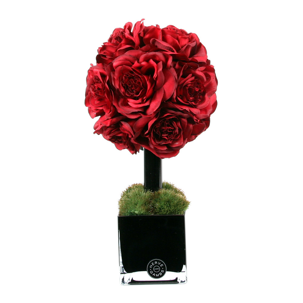Herve Gambs - Red Couture Rose Topiary & Black Glass Cube
