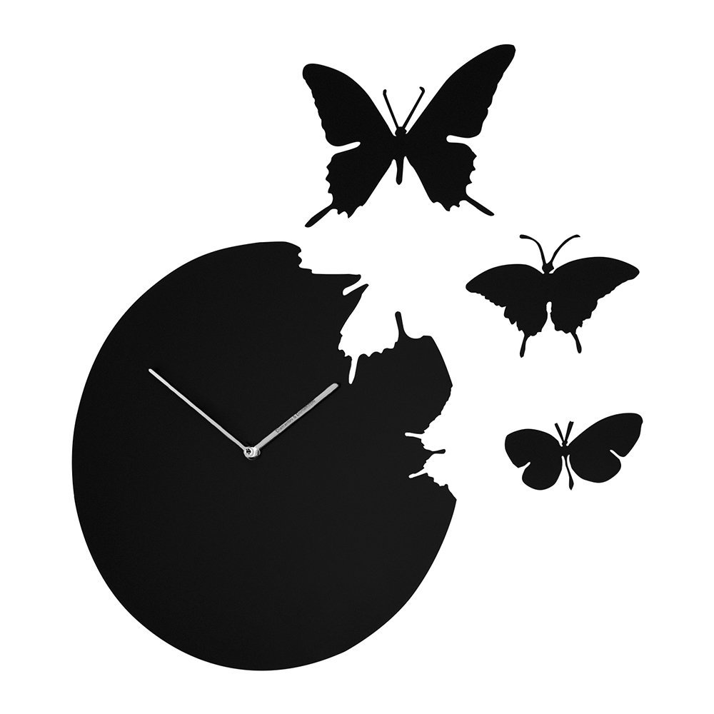 Diamantini  Domeniconi - Large Butterfly Wall Clock - Black