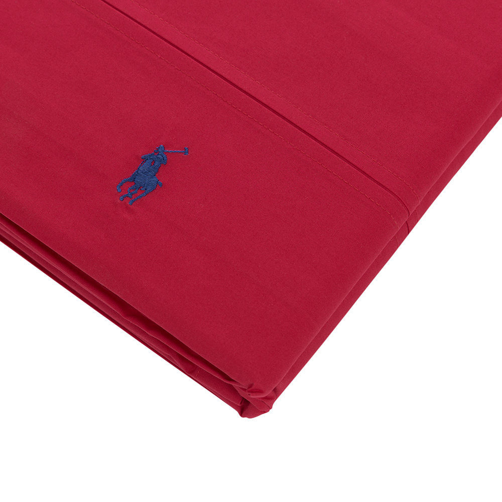 buy ralph lauren home polo player flat sheet red rose. Black Bedroom Furniture Sets. Home Design Ideas
