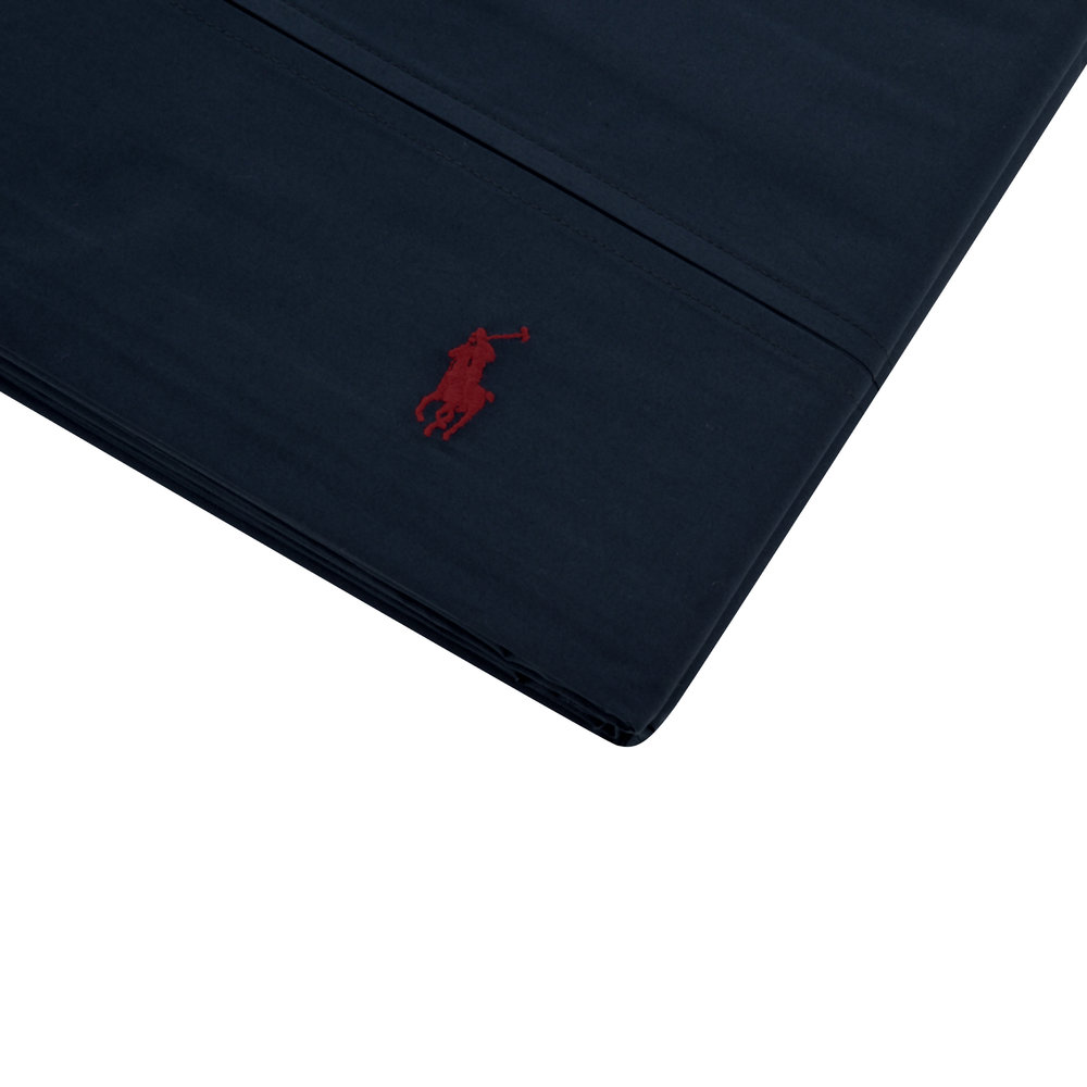 buy ralph lauren home polo player flat sheet navy. Black Bedroom Furniture Sets. Home Design Ideas