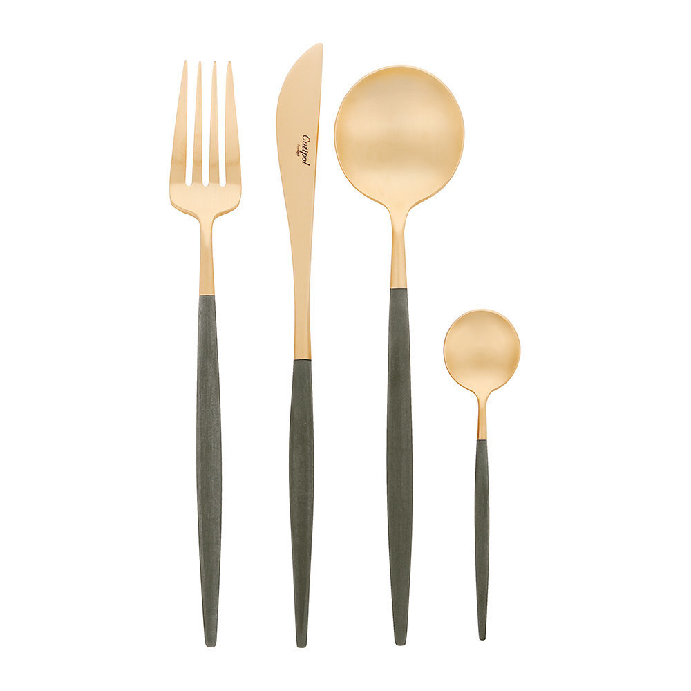 Cutipol - Goa Flatware Set - 24 Piece - Matt Black Gold