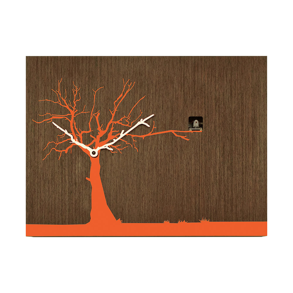 Progetti - Cucuruku Wall Clock - Wenge Wood/Orange