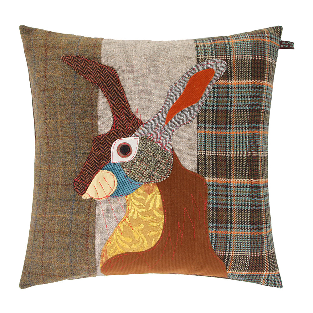 Carola van Dyke - Brown Hare Cushion - 50x50cm