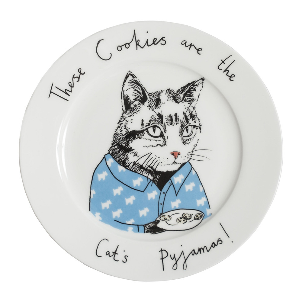 Jimbobart - 'Cookies are the Cat's Pajamas' Side Plate