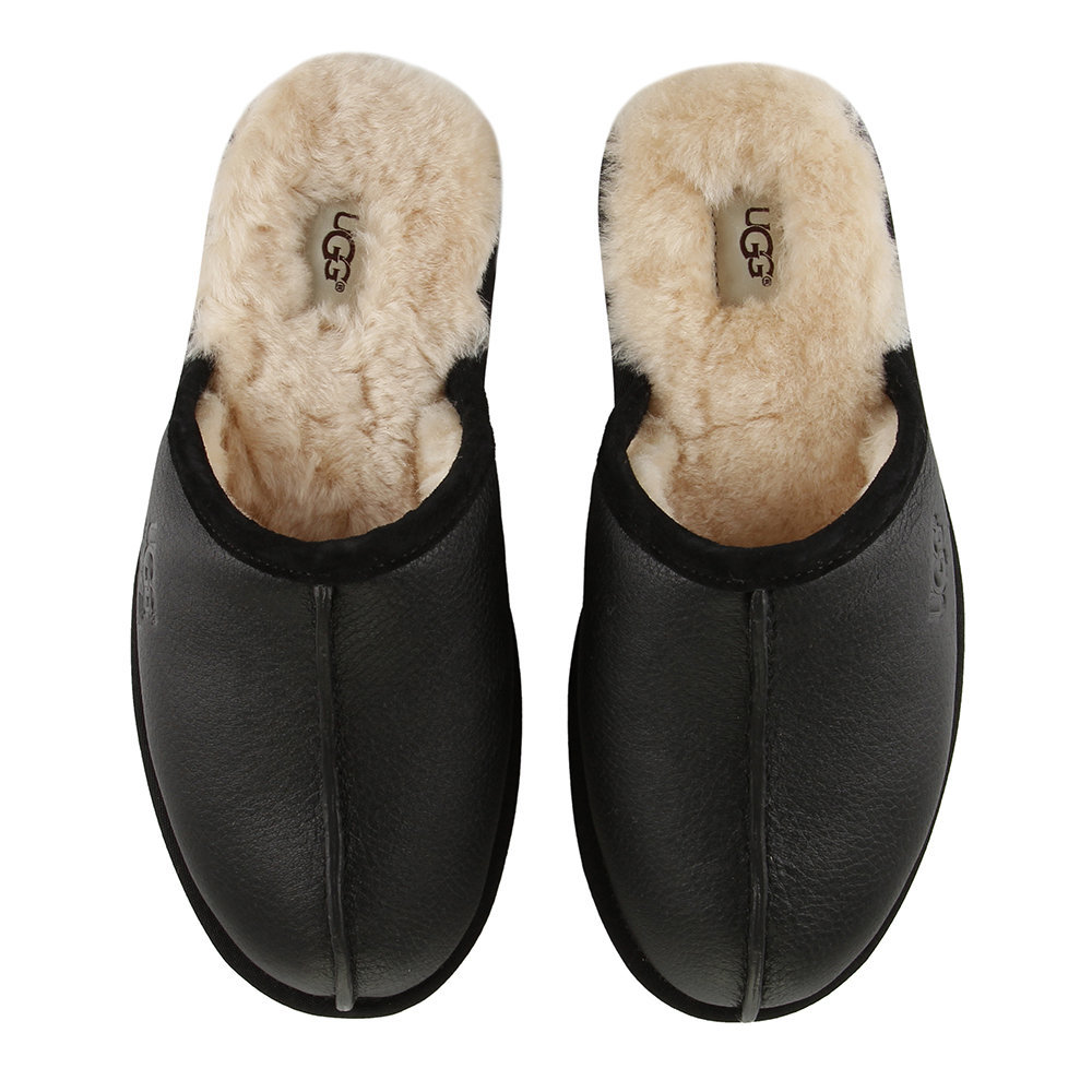 197ad8d9c21 Buy UGG® Men s Scuff Leather Slippers - Black Natural - UK 7