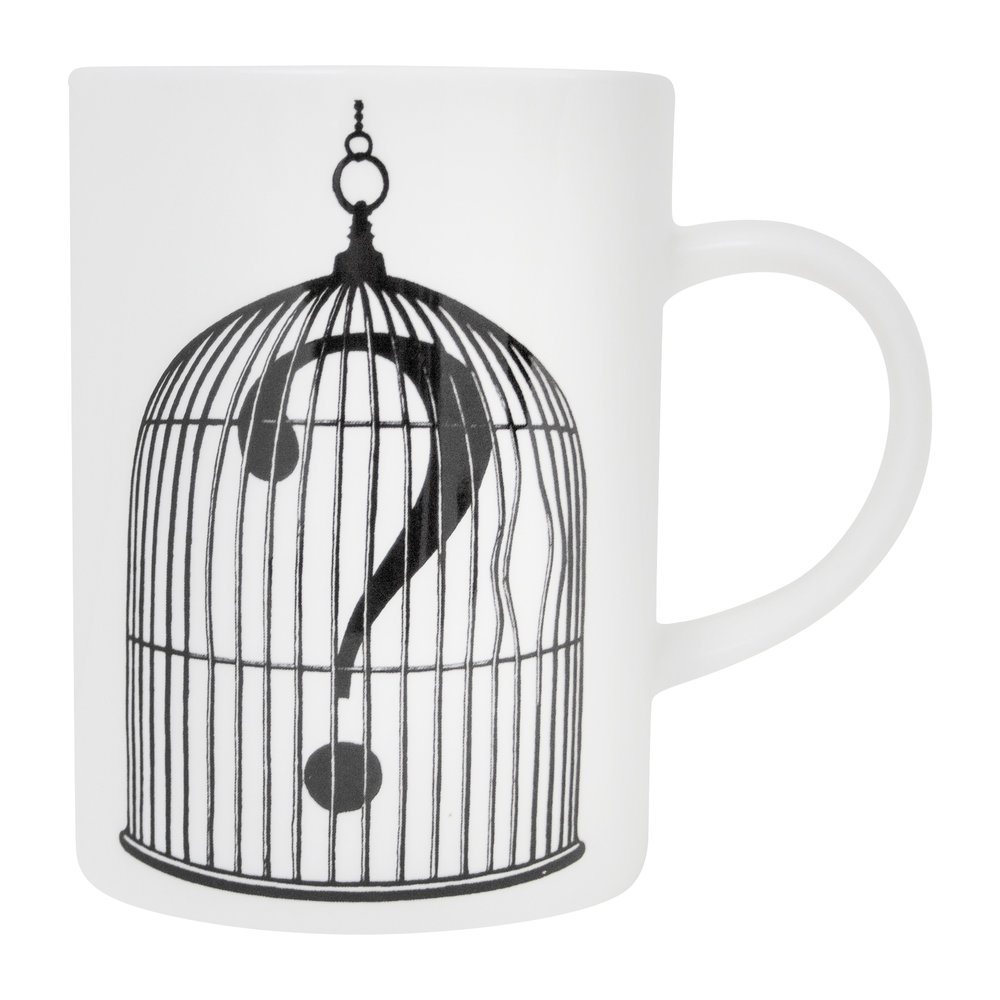 Rory Dobner - Marvellous Mugs - Birdcage with Question Mark